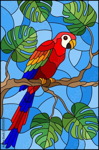 ilustracja-w-witrazu-stylowym-ptasim-parakeet-na-galeziastym-tropikalnym-drzewie-przeciw