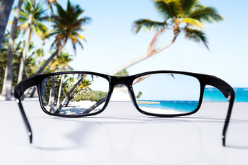 Beach And Palm Trees Seen Through Glasses