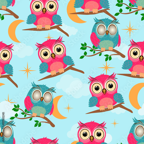 Cartoon little owl seamless pattern. Baby owl and branch green leaves stars and clouds on blue sky background vector illustration