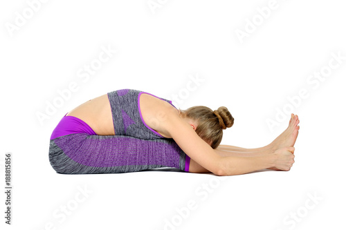 Plexiglas Fitness Younf woman fitness instructor isolated on white background