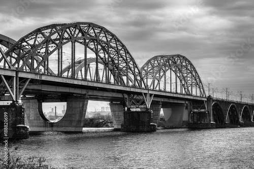 Fotobehang Kiev Black and White view on Darnytskyi bridge, Kiev, Ukraine