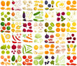 Vector set of products. A variety of vegetables, fruits and berries in a cartoon style. Sliced, whole, half, chopped and slices of different foods. - 188821204