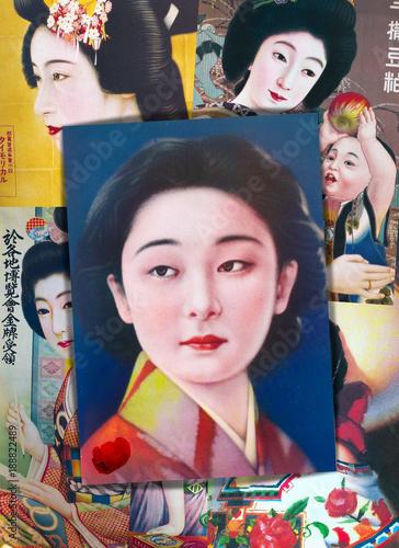 Foto op Canvas Imagination Collage di antiche stampe popolari giapponesi vintage con ragazze in kimono