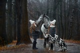 Twins girls portrait with Appaloosa horse and Dalmatian dogs
