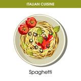 Italian cuisine spaghetti pasta vector icon for restaurant menu or cooking recipe template - 188826647