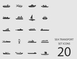 Sea transport set of flat icons. Vector illustration - 188826854