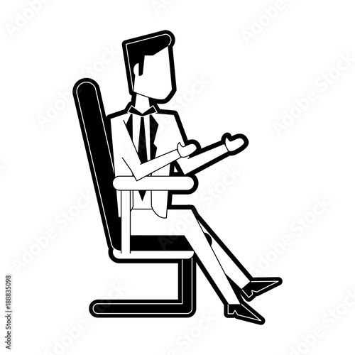Businessman on office chair icon vector illustration graphic design