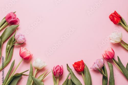 Różowe tło z tulipanów. Widok płaski i widok z góry.