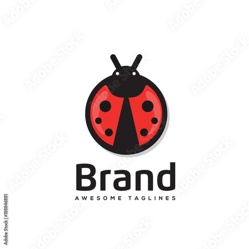 Ladybug is an arthropod logo vector,.The insect beetle, ladybug icon and logo style vector symbol stock