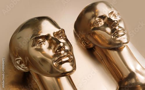 Aluminium Konrad B. Two pieces of human golden scupltures