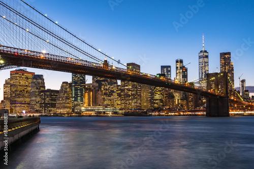 New York City skyline view from Brooklyn Bridge Park during sunset