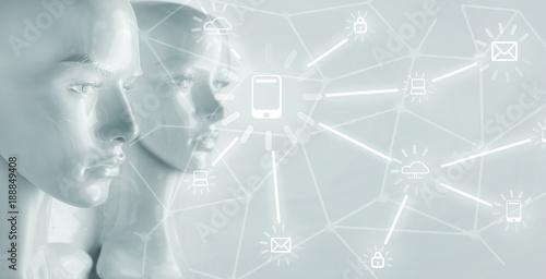 Foto op Canvas Artist KB Artificial intelligence concept - Internet, network, globalization
