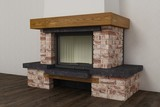 Stone fireplace in home interior