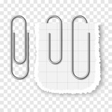 Set of silver metallic realistic paper clip on transparent background. - 188855612