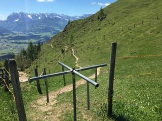 Weidezaun vor Alpenpanorama