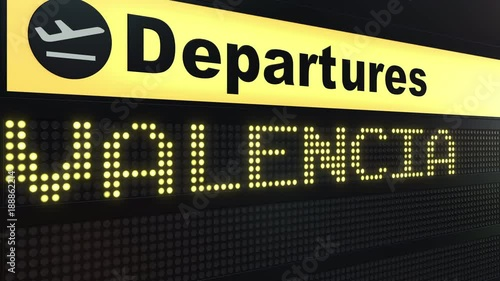 Flight to Valencia on international airport departures board. Travelling conceptual intro animation