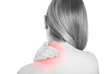 Neck pain, woman holding hand on painful red area on white, clipping path