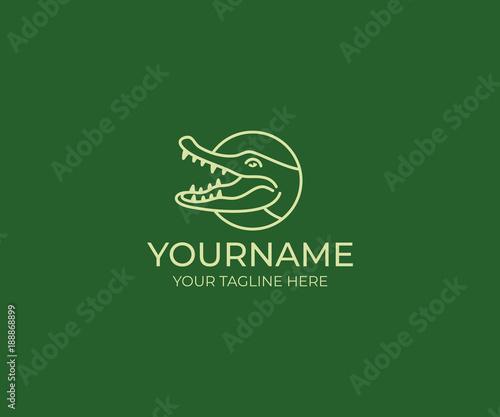 crocodile line logo template alligator vector design animal croc