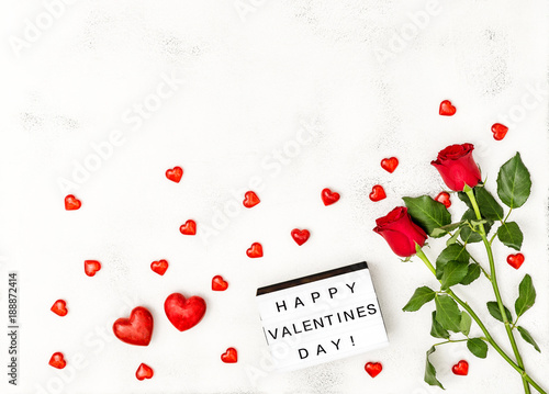 Red hearts rose flowers decoration Valentines Day light box