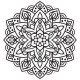 Ornamental round doodle flower isolated on white background. Black outline mandala. Geometric circle element. Vector illustration. - 188882659