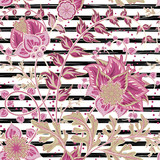 Seamless floral pattern with hand draw fantasy flowers on strip backdrop. Vector