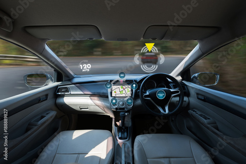 autonomous driving car and digital speedometer technology image visual - 188889827