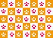 猫・犬足跡の市松模様 - 188894429