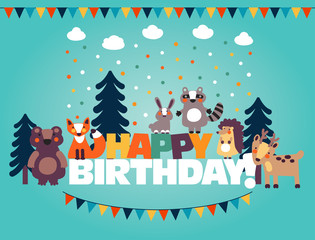Happy birthday - lovely vector card with funny cute animals and garlands. Modern vector style. Ideal for cards, logo, invitations, party, banners, kindergarten, preschool and children room decoration
