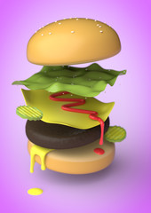 An exploded view of an American Burger
