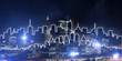 Background conceptual image of night illuminated town as symbol for active lifestyle