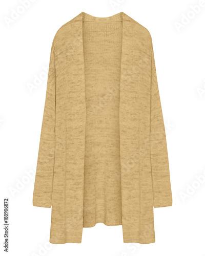 Klasyczny beżowy sweter rozpinany długi sweter na białym tle