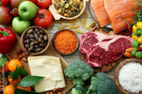 sfondo cibo, tavolo con prodotti alimentari ,per alimentazione e dieta completa - 188911667
