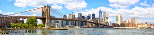 New York City Brooklyn Bridge panorama with Manhattan skyline