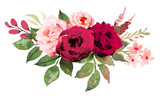 Flower bouquet with red and pink roses. Watercolor hand-painted illustration - 188932824