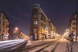 Night traffic in Zabrze town. Poland.