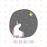 You are my star. Postcard for Valentine's Day with a Unicorn.