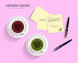 Work space pink background concept design,Coffee and green tea with heart bubbles.And office equipment business desk work,Post-it Notes,Luxury Pen.