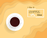 Vector illustration of coffee break in the morning concept.Isolated coffee cup with text of coffee time and coffee beans logo.