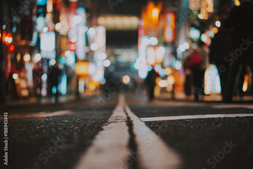 Macro view of a street in Tokyo at night time, street photography