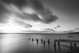Beautiful black and white sunset landscape image of Fleet Lagoon in Dorset England - 188949683