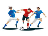 2497541 Players are fighting for the ball. Vector Illustration