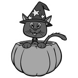 Cat in Pumpkin Illustration - A vector cartoon illustration of a Cat in a Pumpkin.