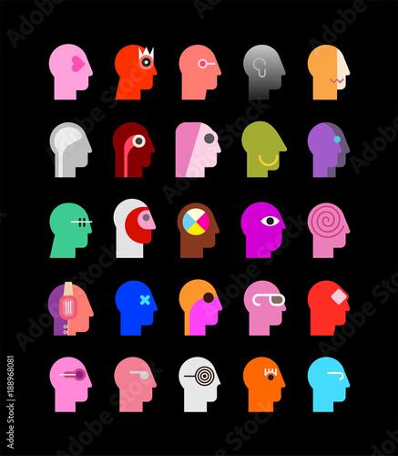 Fotobehang Abstractie Art Human Heads