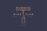 Logo template of wine club with image corkscrew and wine cork on dark blue background. Vector design element for wine store, menu, brand and identity. - 188969807