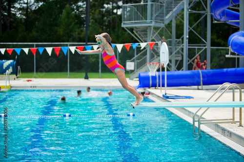 Little Girl Swim Lessons off Diving Board | Buy Photos | AP Images ...