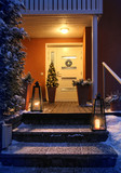 Welcome Christmas house entrance door in Xmas evening - 188976489
