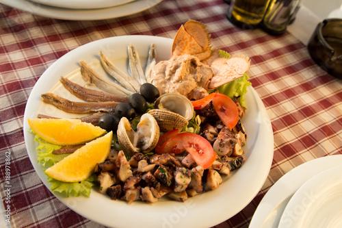 Cold seafood plate, Restaurant, Croatia - 188978862