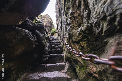 Stairs of Little Hell gorge on Szczeliniec Wielki in Table Mountains National Park