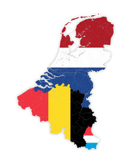 Map of BeNeLux countries with rivers and lakes in colors of the national flags. Map consists of separate maps of Belgium, Netherlands and Luxembourg that can be used separately.