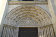 Paris,France-January 19,2018:Tympanum or tympan of Basilique Saint-Denis, a Gothic architecture and an architectural landmark in Paris.